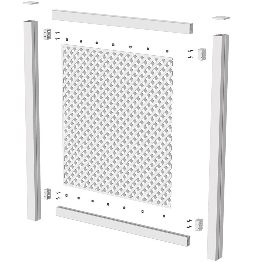 Barrette (Common: 1-in x 1-in x 8-ft; Actual: 0.995-in x 0.745-in x 8.02-ft) White Vinyl Lattice Cap