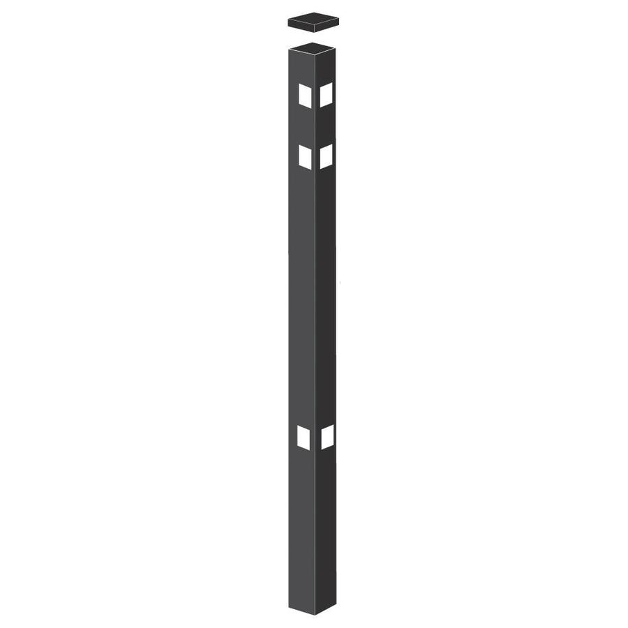 Freedom (Common: 2-in x 2-in x 7-1/2-ft; Actual: 2-in x 2-in x 7.33-ft) Standard Black Aluminum Fence Corner Post