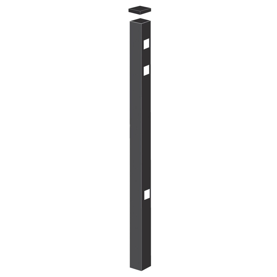 Freedom (Common: 2-in x 2-in x 7-1/2-ft; Actual: 2-in x 2-in x 7.33-ft) Standard Black Aluminum Gate Post