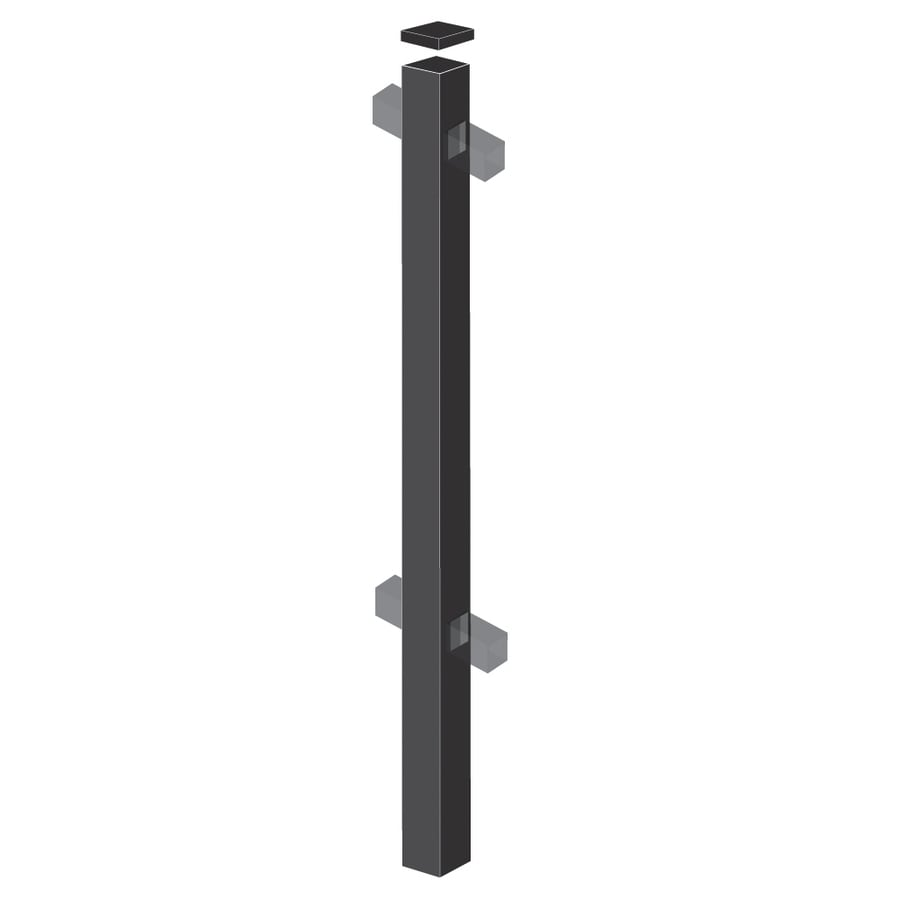 Freedom (Common: 2-in x 2-in x 6-ft; Actual: 2-in x 2-in x 5.83-ft) Standard Black Aluminum Line Post