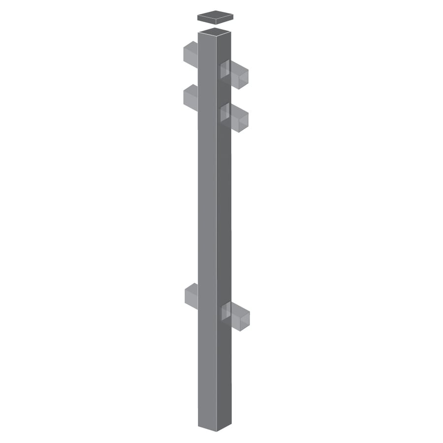 Freedom (Common: 2-in x 2-in x 7-ft; Actual: 2-in x 2-in x 6.83-ft) Standard Pewter Aluminum Line Post