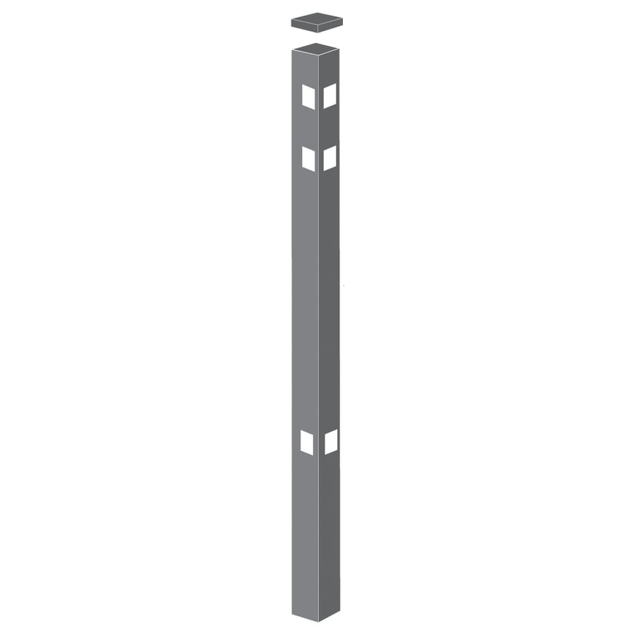 Freedom (Common: 2-in x 2-in x 7-ft; Actual: 2-in x 2-in x 6.83-ft) Standard Pewter Aluminum Corner Post