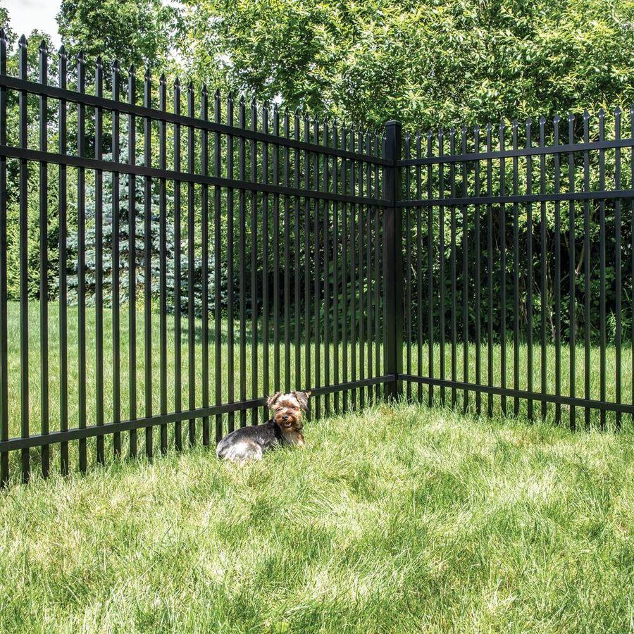 Freedom (Actual: 3.89-ft x 6.02-ft) Standard Oxford Black Aluminum Decorative Fence Panel