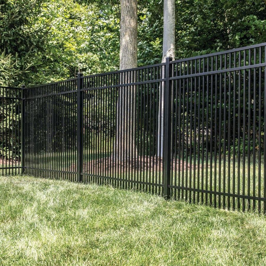 Freedom (Common: 5-ft x 6-ft; Actual: 4.91-ft x 6.02-ft) Standard Sheffield Black Aluminum Decorative Fence Panel