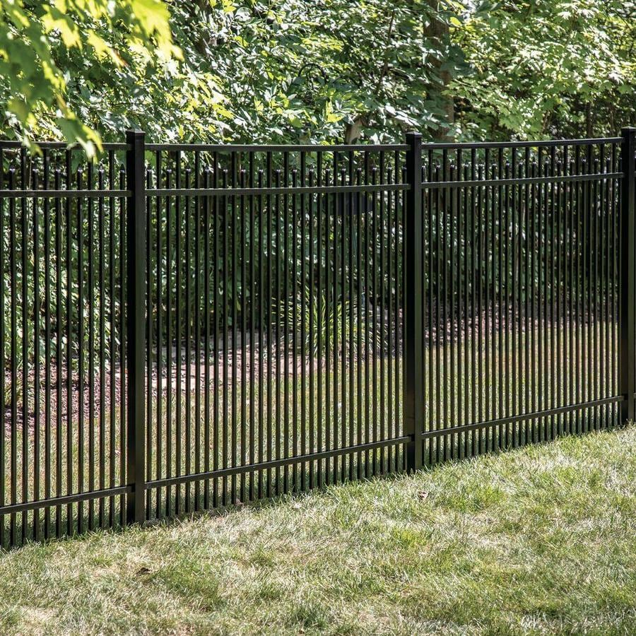 Freedom (Actual: 4.91-ft x 6.02-ft) Standard York Black Aluminum Decorative Fence Panel