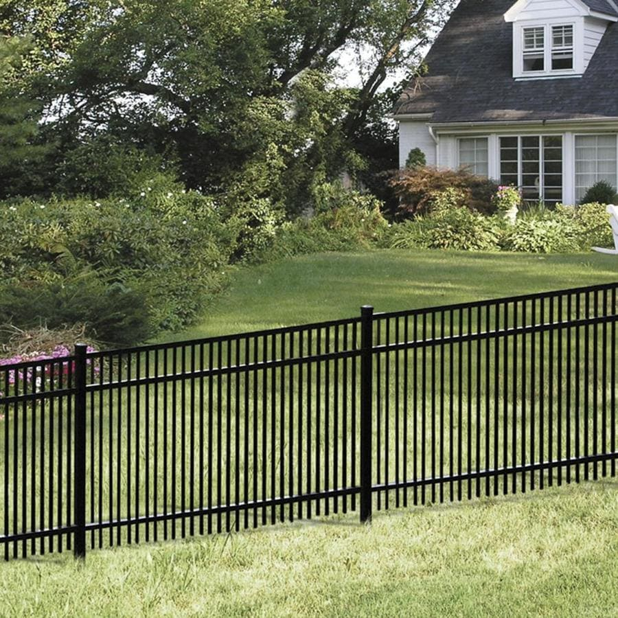 Freedom (Common: 6-ft x 6-ft; Actual: 5.91-ft x 6.02-ft) Standard York Black Aluminum Decorative Fence Panel