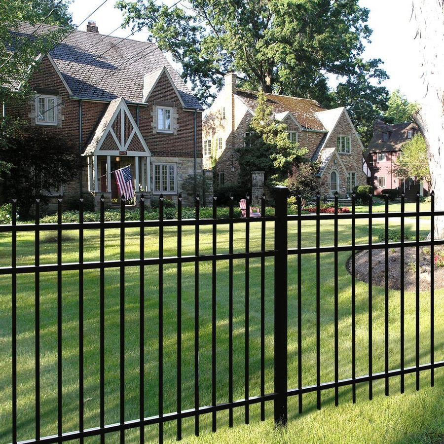 Freedom (Actual: 3.98-ft x 7.89-ft) Heavy Duty Providence Black Aluminum Decorative Fence Panel