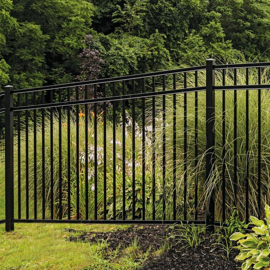 Freedom (Common: 4.5-ft x 8-ft; Actual: 4.53-ft x 7.89-ft) Heavy Duty New Haven Black Aluminum Decorative Fence Panel