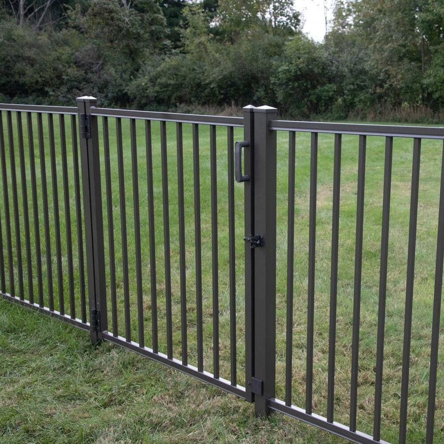 Freedom (Common: 4-ft x 6-ft; Actual: 4.03-ft x 6.02-ft) Heavy Duty Easton Pewter Aluminum Decorative Fence Panel