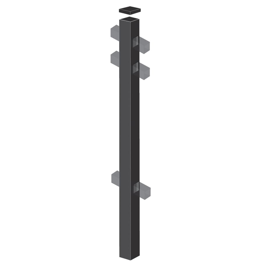 Freedom (Common: 2-in x 2-in x 5-ft; Actual: 2-in x 2-in x 4.83-ft) Standard Black Aluminum Line Post