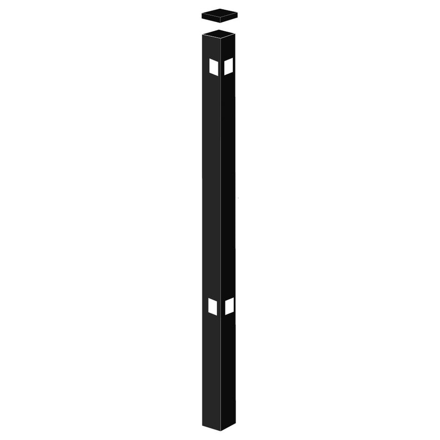 Freedom Standard Black Aluminum Aluminum Fence Corner Post (Common: 2-in x 2-in x 5-ft; Actual: 2-in x 2-in x 4.83-ft)