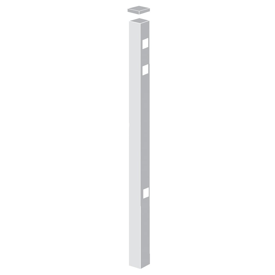 Freedom (Common: 2-in x 2-in x 7-ft; Actual: 2-in x 2-in x 6.83-ft) Standard White Aluminum End Post