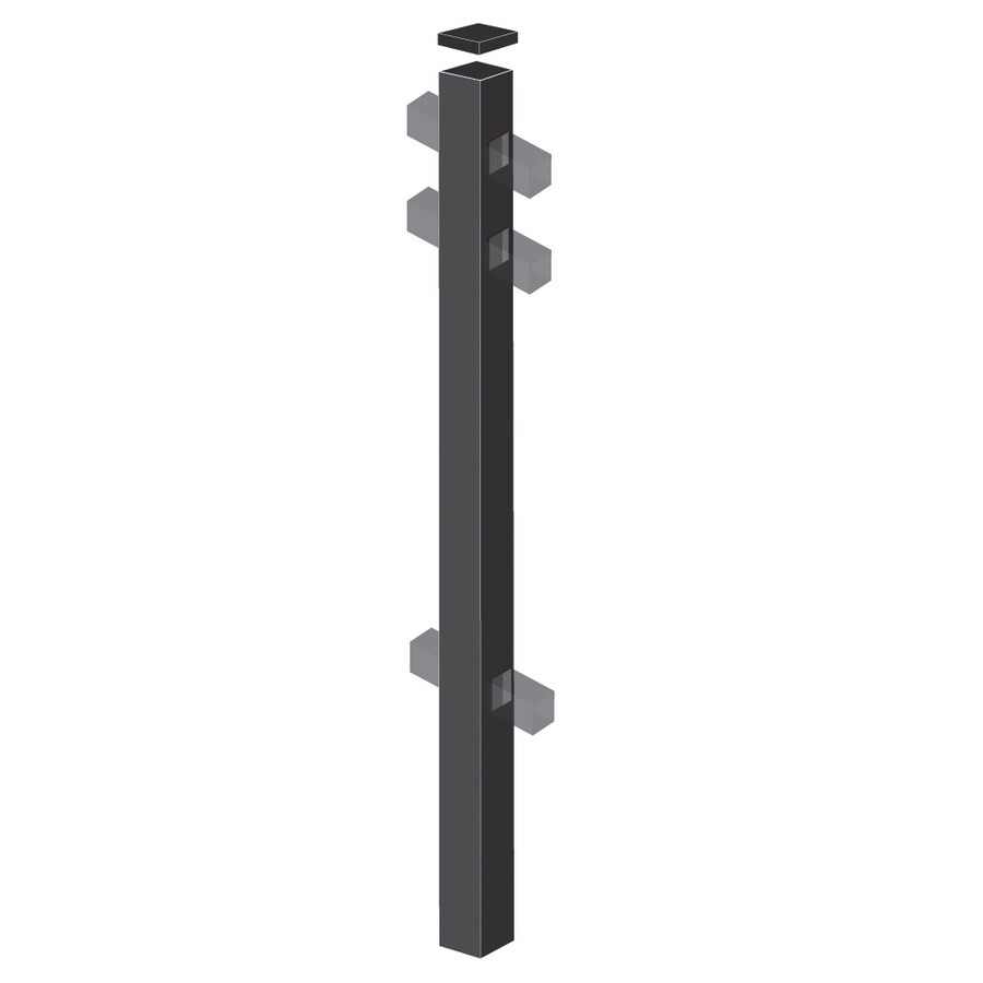 Freedom (Common: 2-1/2-in x 2-1/2-in x 6-ft; Actual: 2.5-in x 2.5-in x 5.83-ft) Heavy-Duty Black Aluminum Line Post