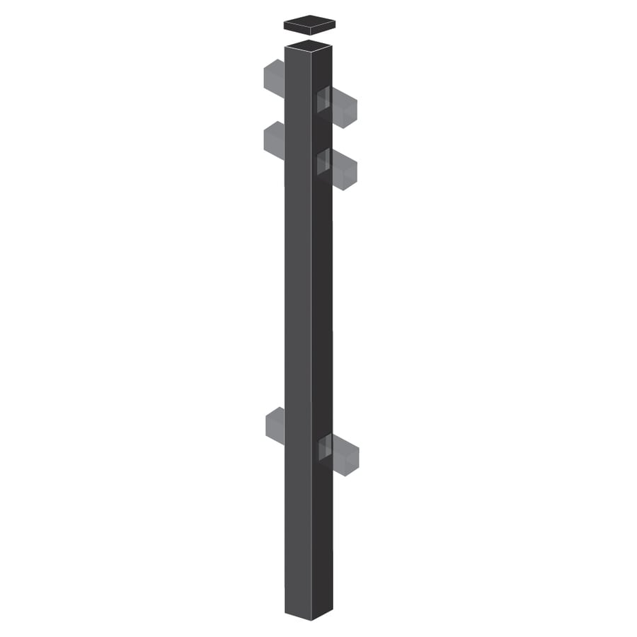 Freedom (Common: 2-1/2-in x 2-1/2-in x 7-ft; Actual: 2.5-in x 2.5-in x 6.83-ft) Heavy-Duty Black Aluminum Line Post