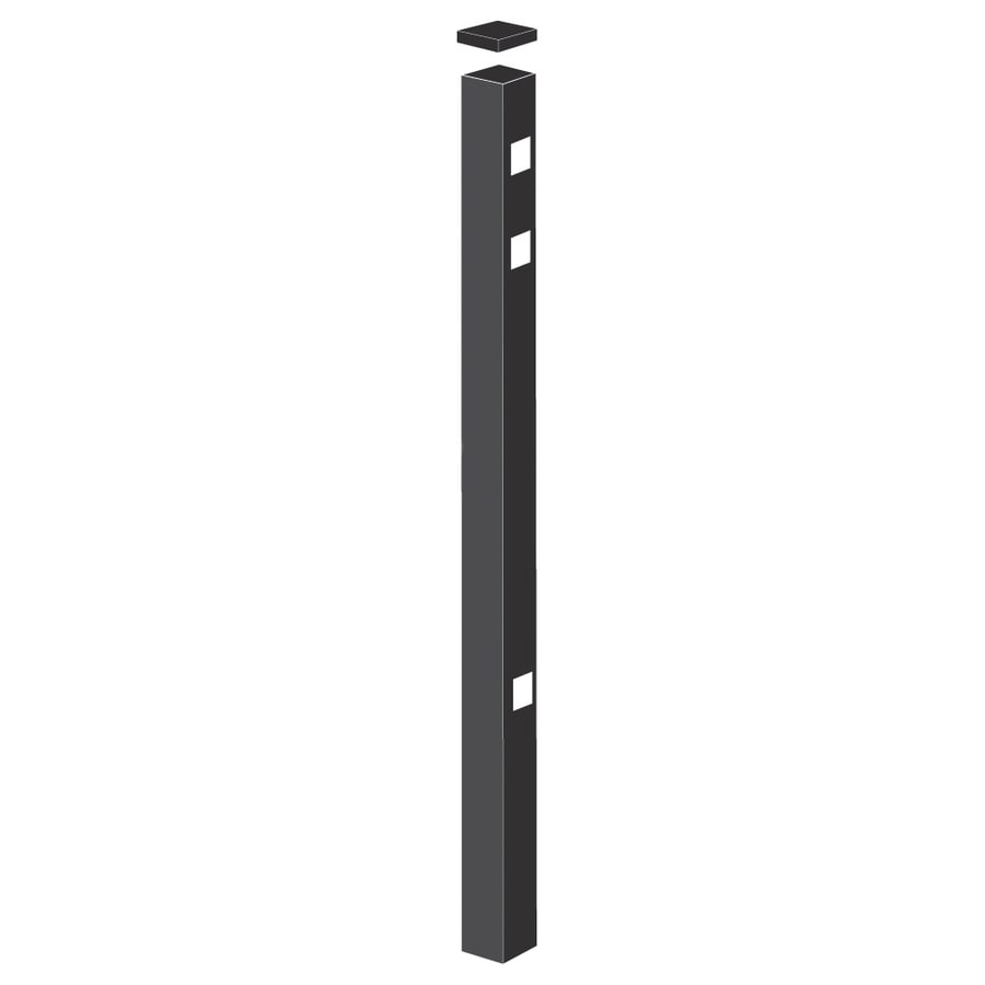 Freedom (Common: 2-1/2-in x 2-1/2-in x 7-ft; Actual: 2.5-in x 2.5-in x 6.83-ft) Heavy-Duty Black Aluminum Gate Post