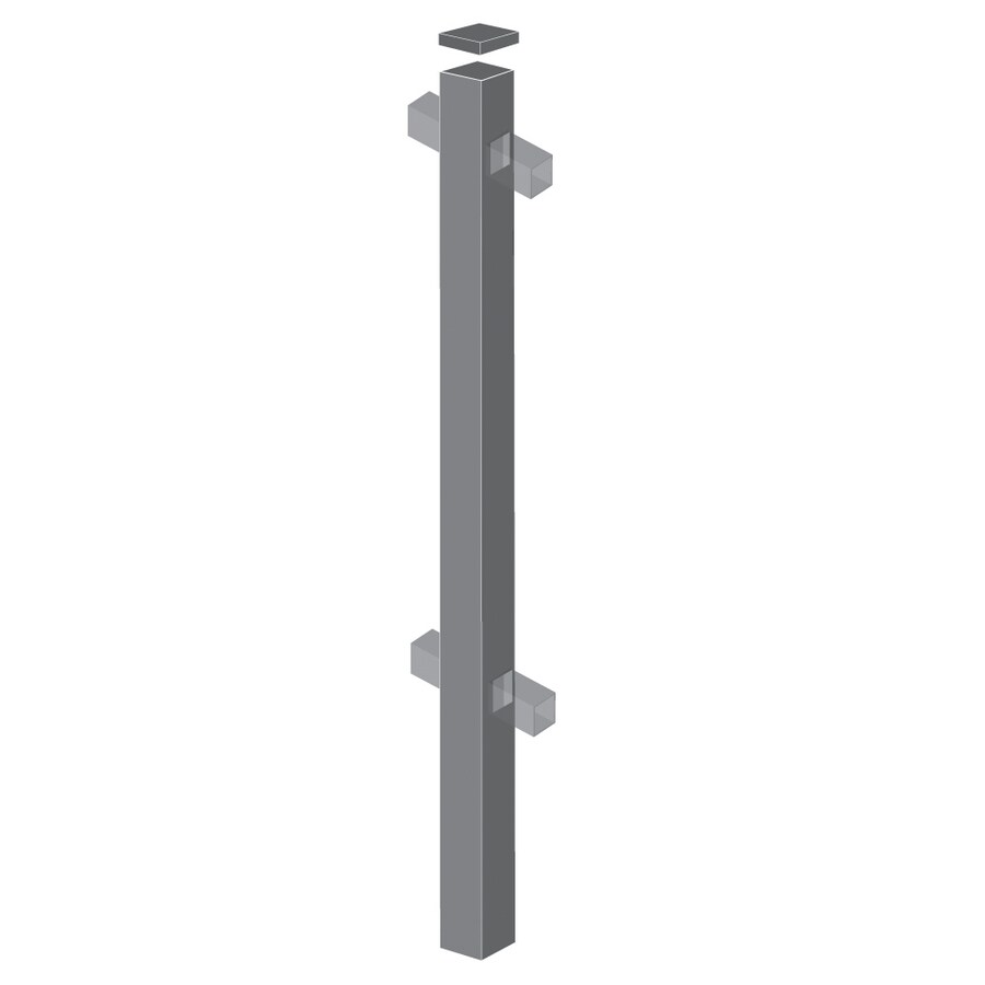 Freedom (Common: 2-1/2-in x 2-1/2-in x 6-ft; Actual: 2.5-in x 2.5-in x 5.83-ft) Heavy-duty Pewter Aluminum Decorative Fence Line Post