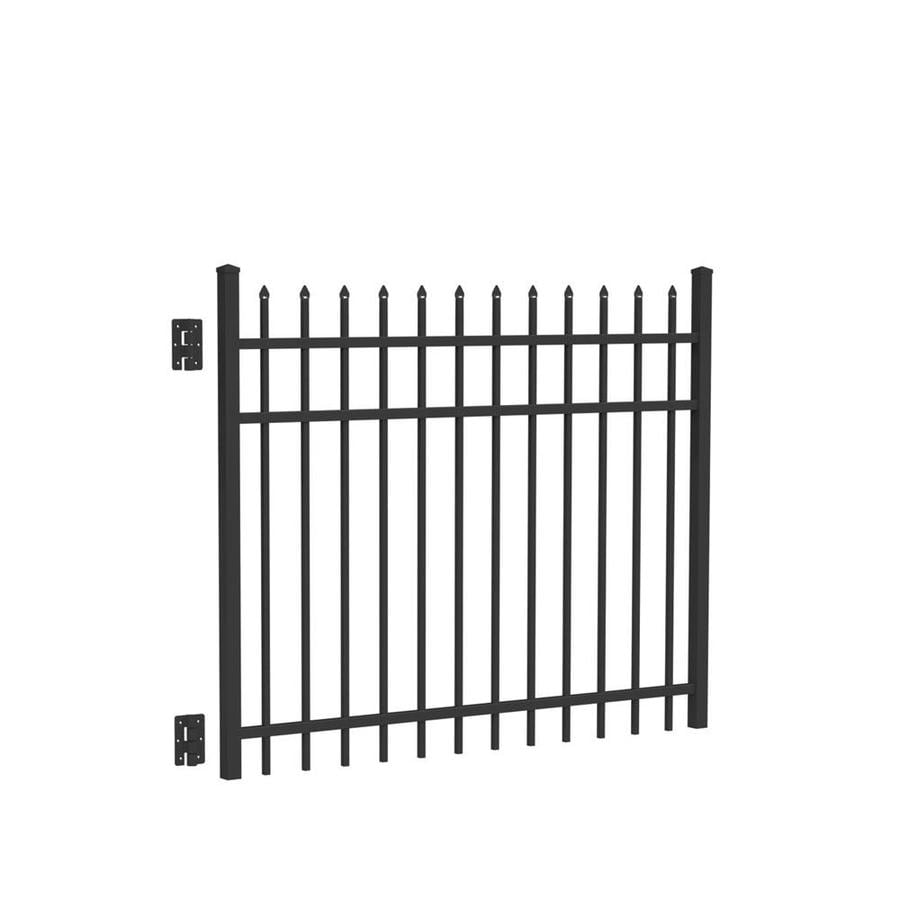 Freedom (Common: 4-ft x 5-ft; Actual: 4.02-ft x 4.875-ft) Providence Black Aluminum Decorative Fence Gate