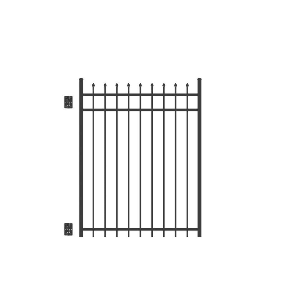 Freedom (Common: 5-ft x 4-ft; Actual: 5.02-ft x 3.875-ft) Providence Black Aluminum Decorative Fence Gate