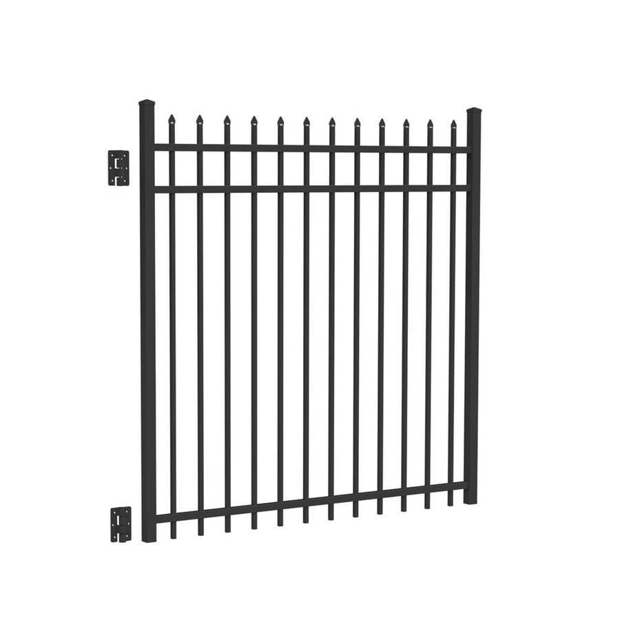 Freedom Providence Black Aluminum Decorative Fence Gate (Common: 5-ft x 5-ft; Actual: 5.02-ft x 4.875-ft)