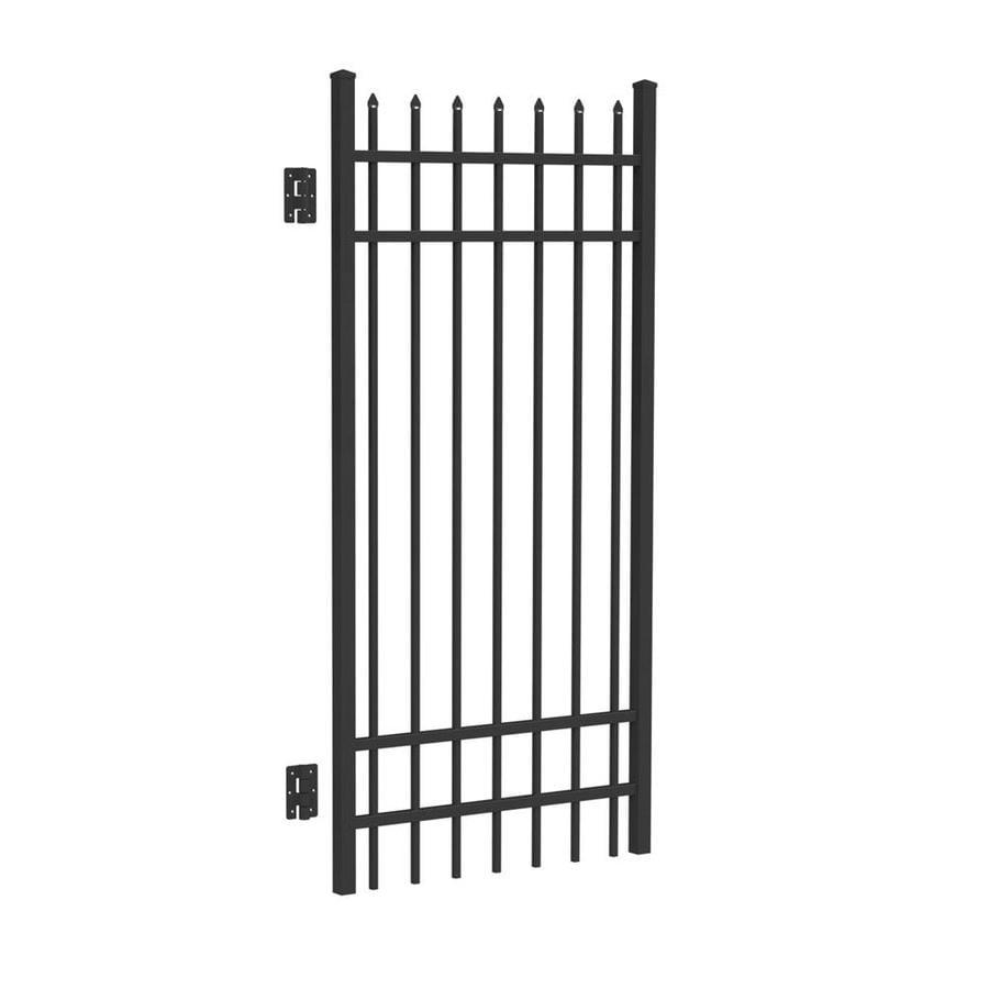 Freedom Providence Black Aluminum Decorative Fence Gate (Common: 6-ft x 3-ft; Actual: 6.02-ft x 2.875-ft)