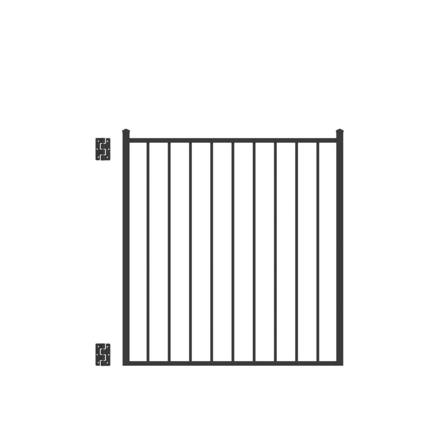 Freedom (Common: 4-ft x 4-ft; Actual: 4.125-ft x 3.875-ft) Easton Black Aluminum Decorative Fence Gate