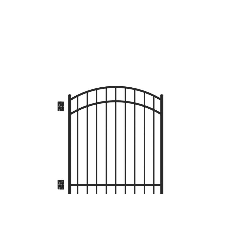 Freedom (Common: 4-ft x 4-ft; Actual: 4.04-ft x 3.875-ft) New Haven Black Aluminum Decorative Fence Gate