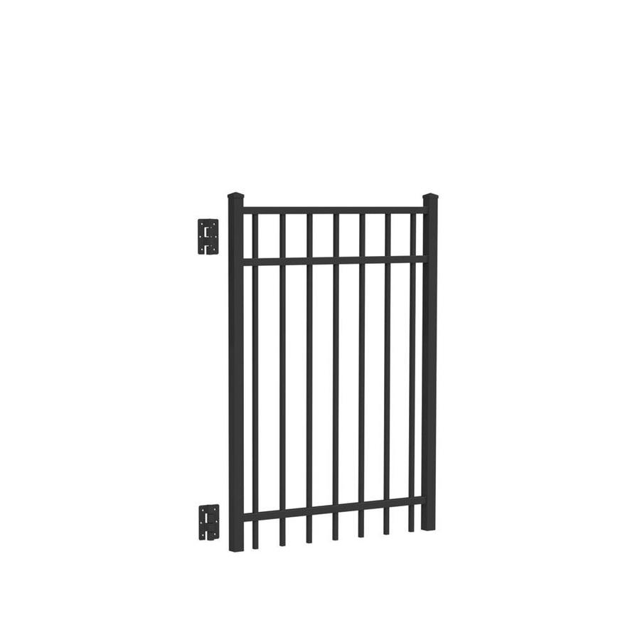 Freedom (Common: 4-ft x 3-ft; Actual: 4.04-ft x 2.875-ft) New Haven Black Aluminum Decorative Fence Gate