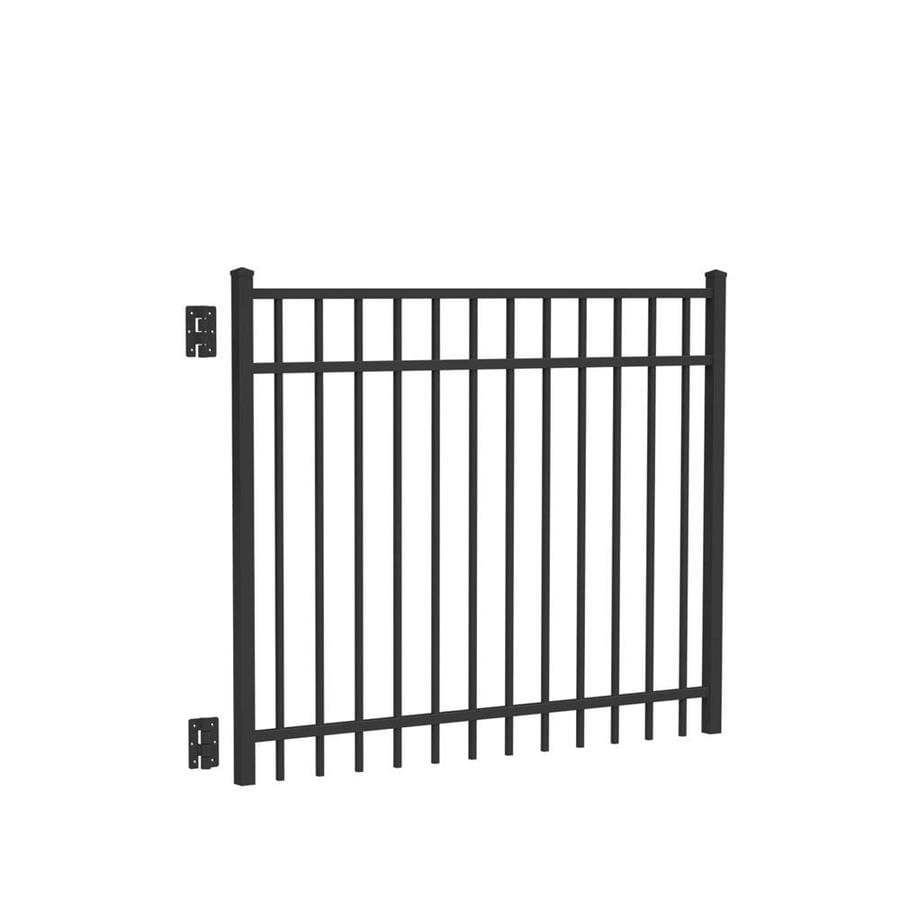 Freedom (Common: 4-ft x 5-ft; Actual: 4.04-ft x 4.875-ft) New Haven Black Aluminum Decorative Fence Gate