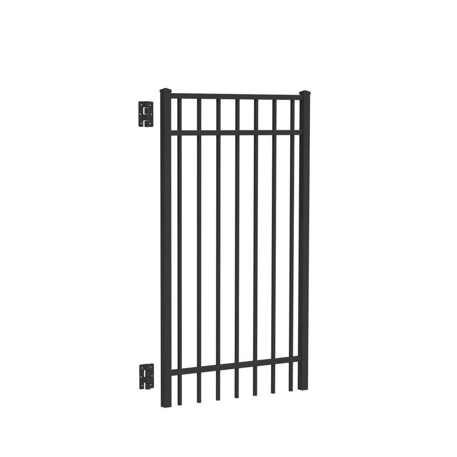 Freedom (Common: 5-ft x 3-ft; Actual: 5.04-ft x 2.875-ft) New Haven Black Aluminum Decorative Fence Gate