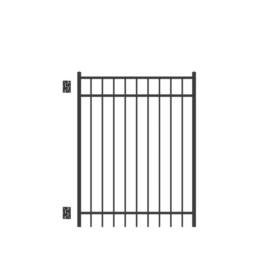 Freedom (Common: 5-ft x 4-ft; Actual: 5.04-ft x 3.875-ft) New Haven Black Aluminum Decorative Fence Gate