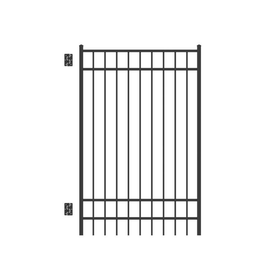 Freedom (Common: 6-ft x 4-ft; Actual: 6.04-ft x 3.875-ft) New Haven Black Aluminum Decorative Fence Gate