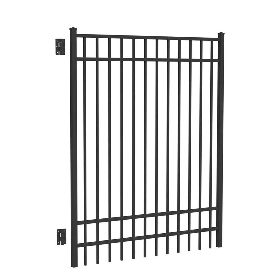 Freedom (Common: 6-ft x 5-ft; Actual: 6.04-ft x 4.875-ft) New Haven Black Aluminum Decorative Fence Gate