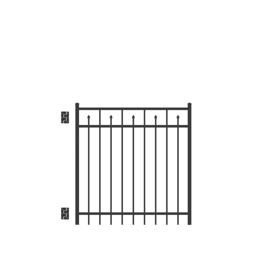 Freedom Concord Black Aluminum Decorative Fence Gate (Common: 4-ft x 4-ft; Actual: 4.04-ft x 3.875-ft)