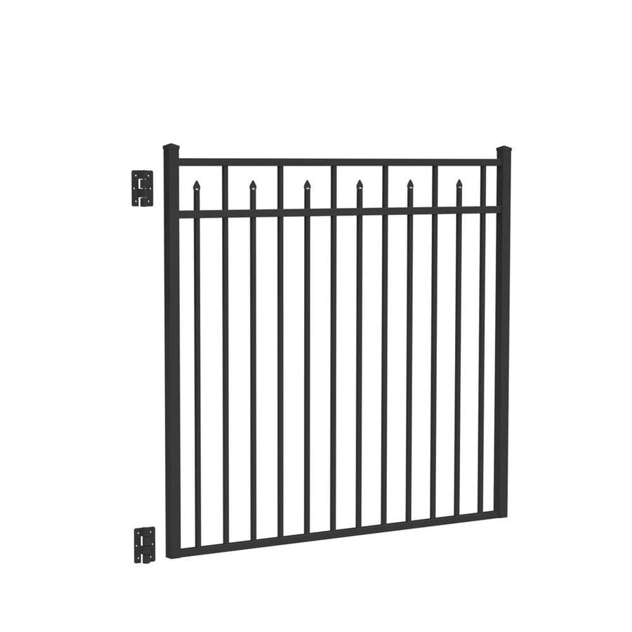 Freedom Concord Black Aluminum Decorative Fence Gate (Common: 4.5-ft x 5-ft; Actual: 4.625-ft x 4.875-ft)