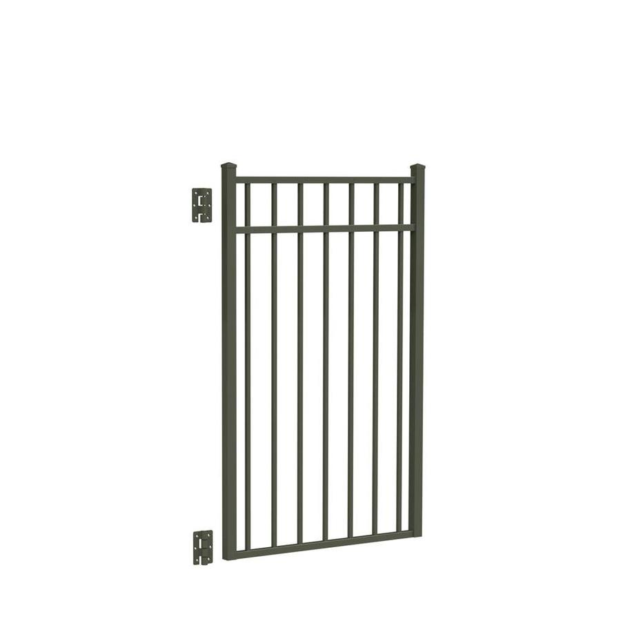 Freedom (Common: 4.5-ft x 3-ft; Actual: 4.625-ft x 2.875-ft) New Haven Pewter Aluminum Decorative Fence Gate