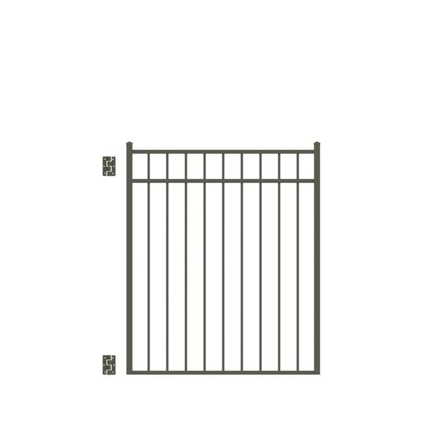 Freedom (Common: 4.5-ft x 4-ft; Actual: 4.625-ft x 3.875-ft) New Haven Pewter Aluminum Decorative Fence Gate