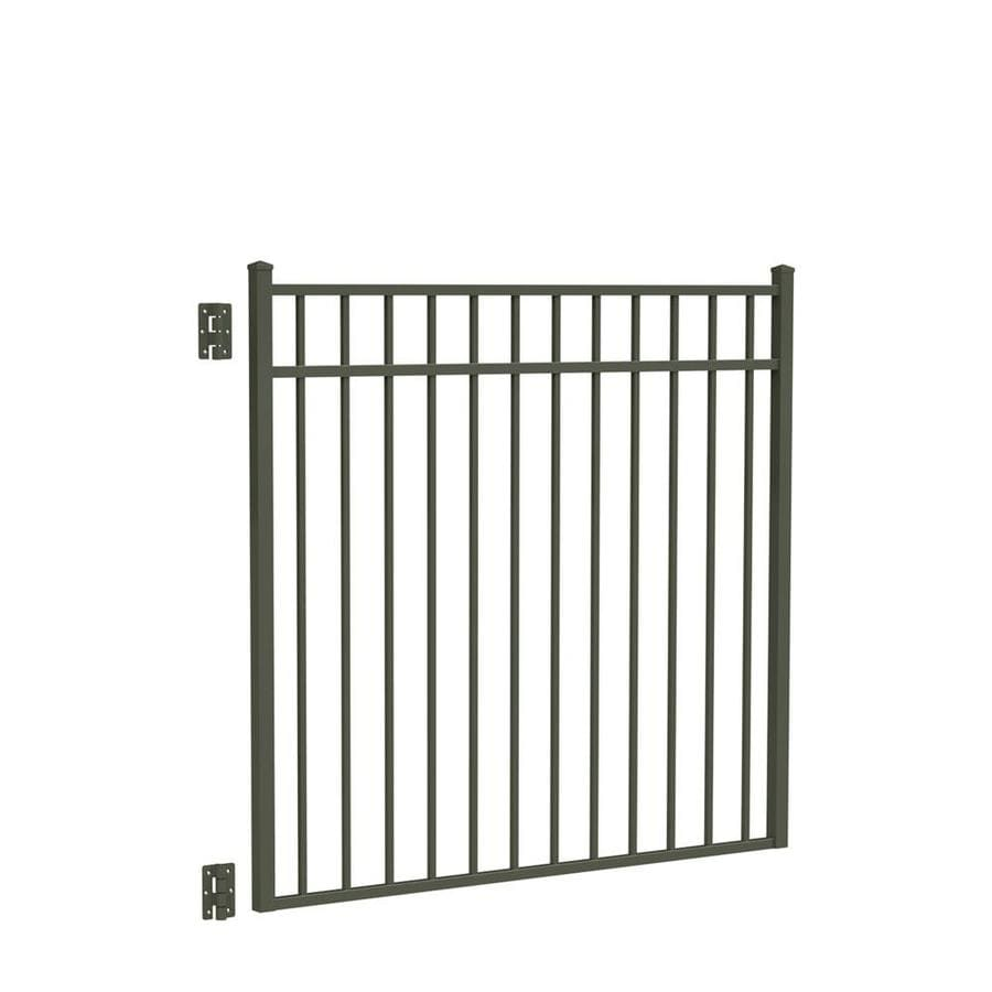 Freedom (Common: 4.5-ft x 4-ft; Actual: 4.625-ft x 4.875-ft) New Haven Pewter Aluminum Decorative Fence Gate