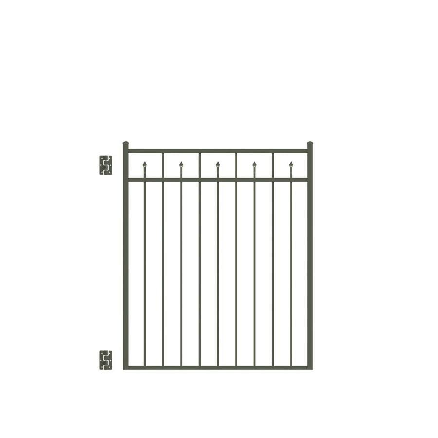 Freedom Concord Pewter Aluminum Decorative Fence Gate (Common: 4.5-ft x 4-ft; Actual: 4.625-ft x 3.875-ft)