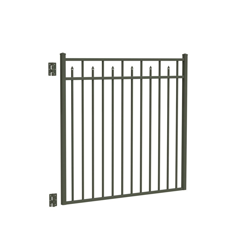 Freedom (Common: 4.5-ft x 5-ft; Actual: 4.625-ft x 4.875-ft) Concord Pewter Aluminum Decorative Fence Gate
