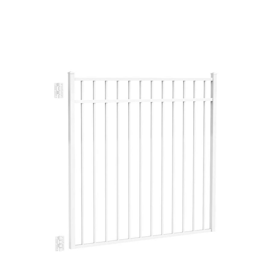 Freedom (Common: 4.5-ft x 4-ft; Actual: 4.625-ft x 4.875-ft) New Haven White Aluminum Decorative Fence Gate