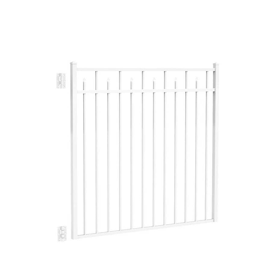 Freedom Concord White Aluminum Decorative Fence Gate (Common: 4.5-ft x 5-ft; Actual: 4.625-ft x 4.875-ft)