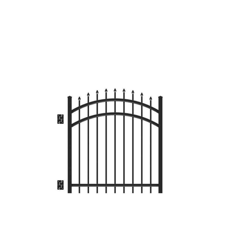 Freedom Providence Black Aluminum Decorative Fence Gate (Common: 4-ft x 4-ft; Actual: 4.02-ft x 3.875-ft)