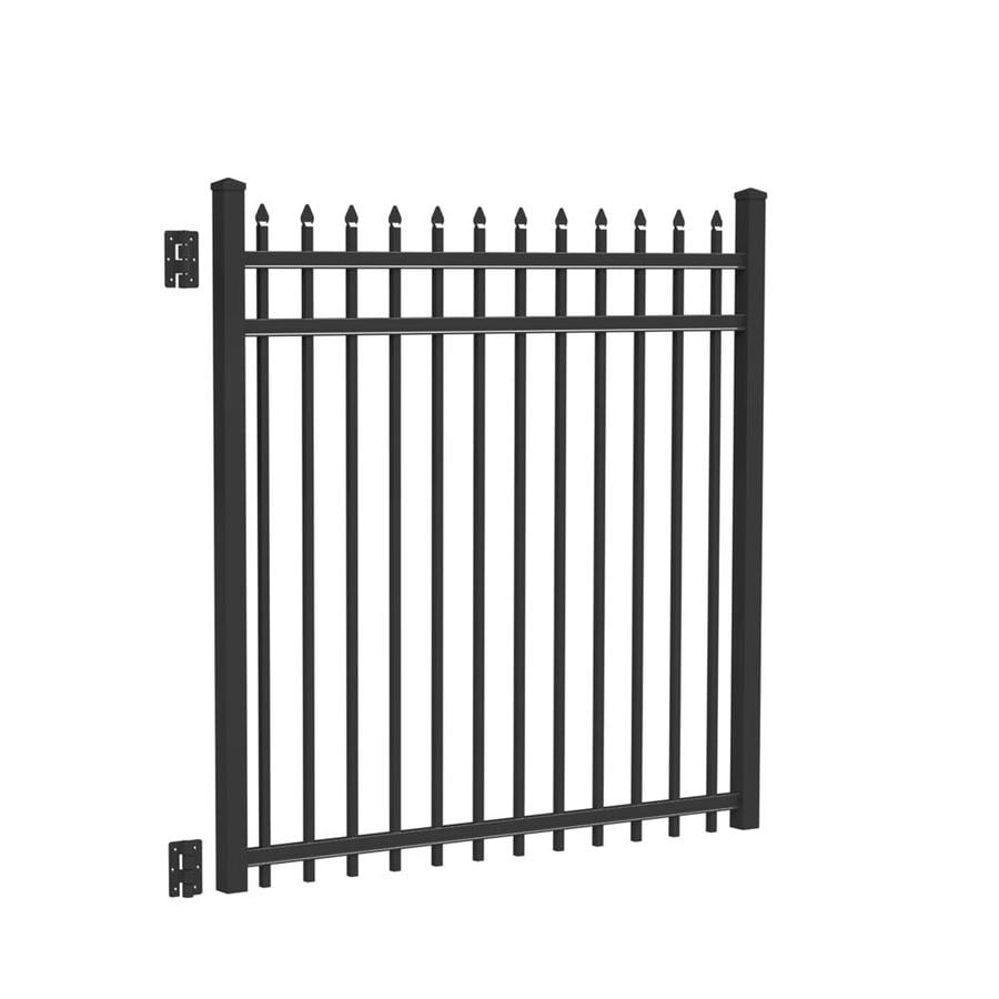 Freedom (Common: 5-ft x 5-ft; Actual: 5.02-ft x 4.875-ft) Providence Black Aluminum Decorative Fence Gate