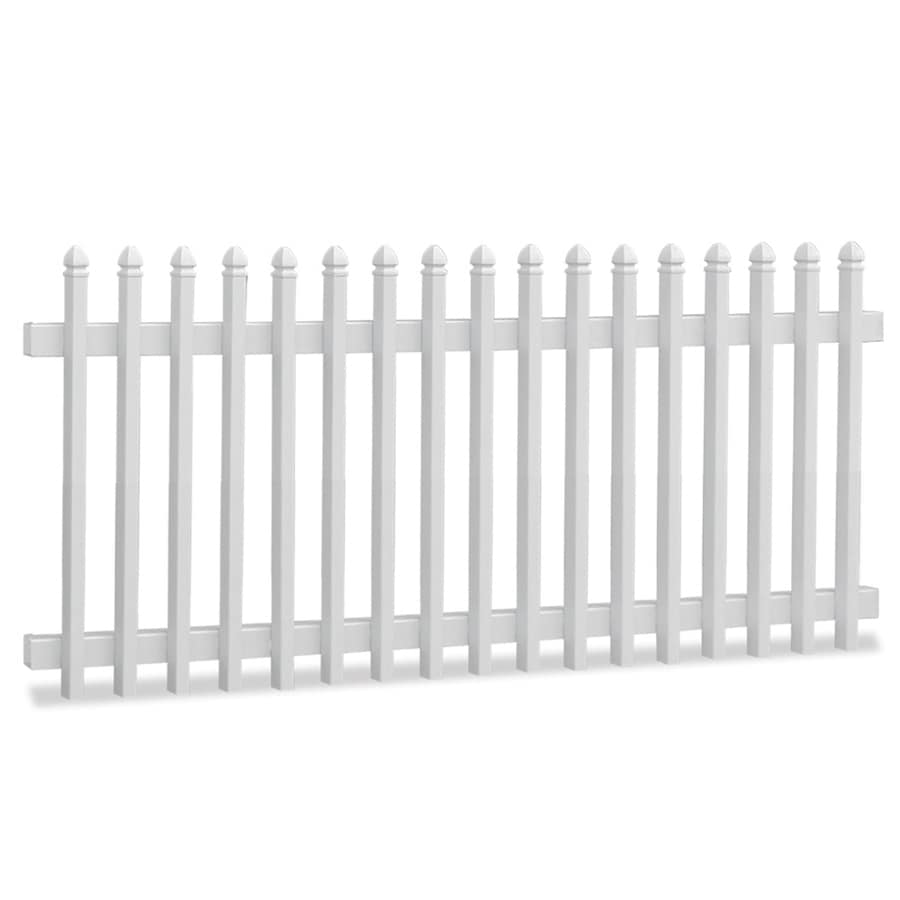Freedom (Common: 4-ft x 8-ft; Actual: 3.84-ft x 7.7-ft) White Vinyl Fence Panel