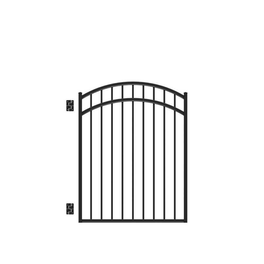 Freedom (Common: 4.5-ft x 4-ft; Actual: 4.66-ft x 3.875-ft) New Haven Black Aluminum Decorative Fence Gate