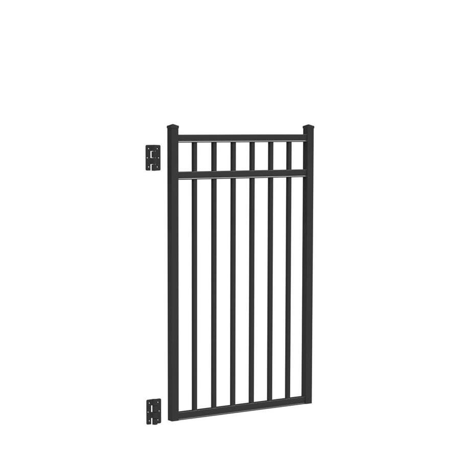 Freedom (Common: 4.5-ft x 3-ft; Actual: 4.66-ft x 2.875-ft) New Haven Black Aluminum Decorative Fence Gate