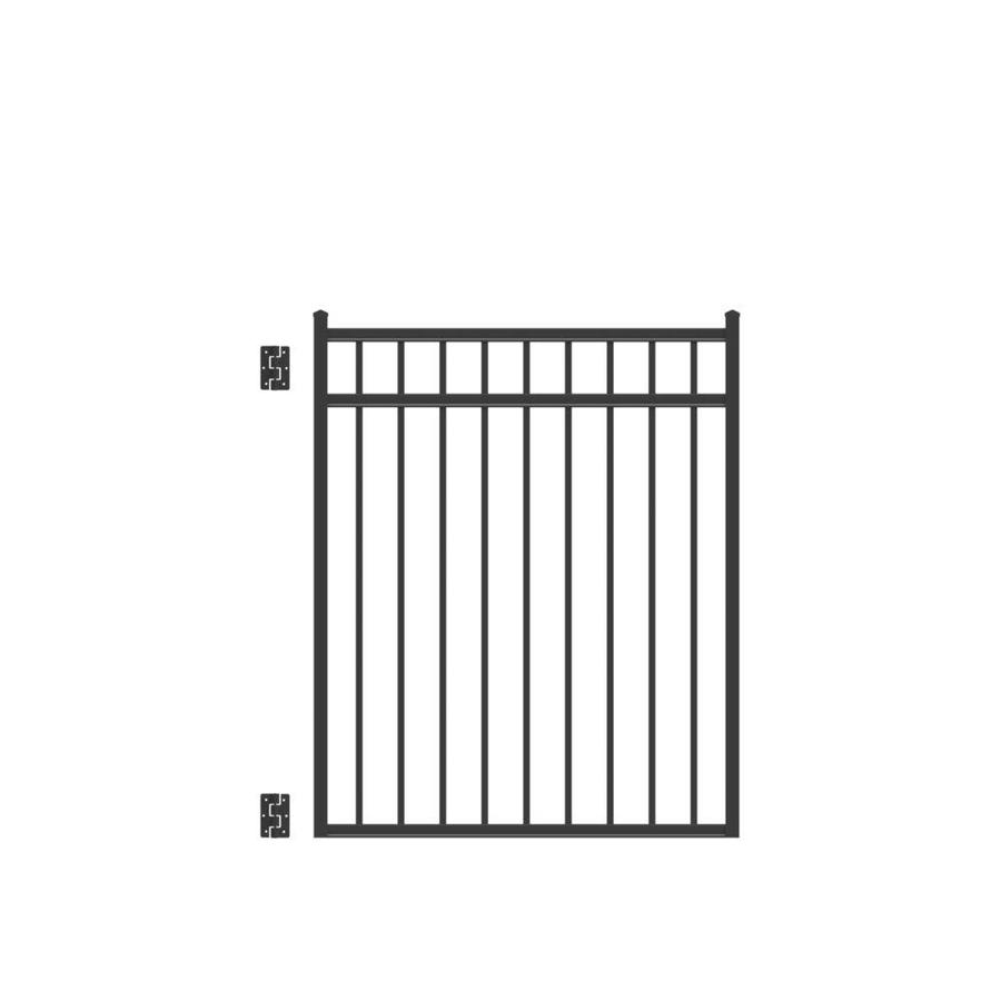 Freedom (Common: 4.5-ft x 4-ft; Actual: 4.66-ft x 3.875 Feet) New Haven Black Metal Aluminum (Not Wood) Decorative Metal Fence Gate