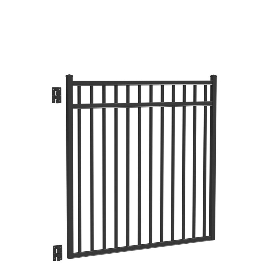 Freedom (Common: 4.5-ft x 5-ft; Actual: 4.66-ft x 4.875-ft) New Haven Black Aluminum Decorative Fence Gate