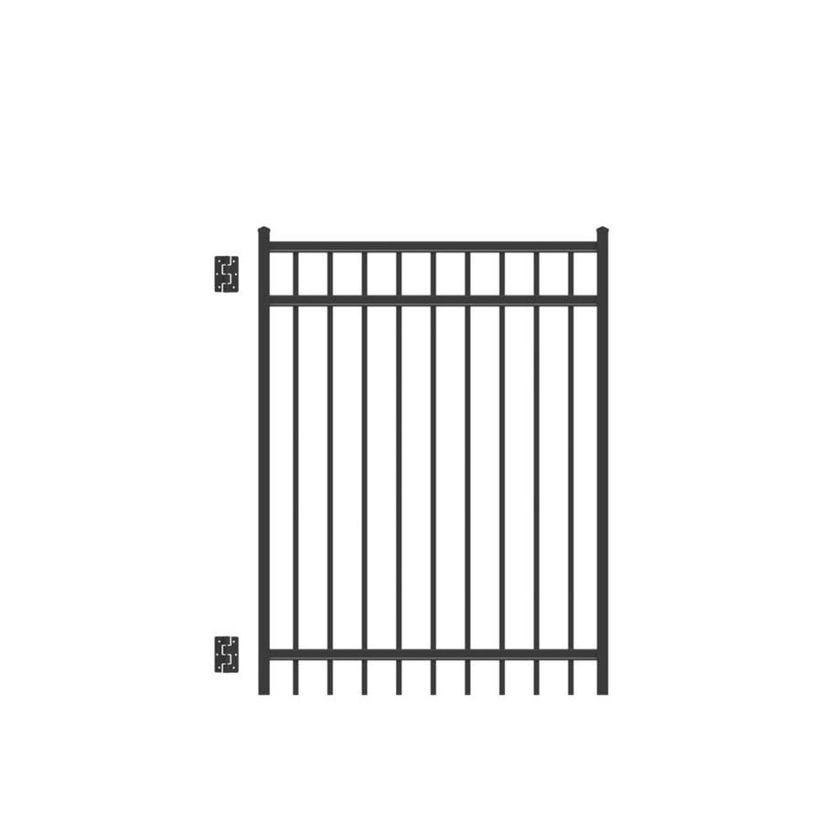 Freedom New Haven Black Aluminum Decorative Fence Gate (Common: 5-ft x 4-ft; Actual: 5.04-ft x 3.875-ft)