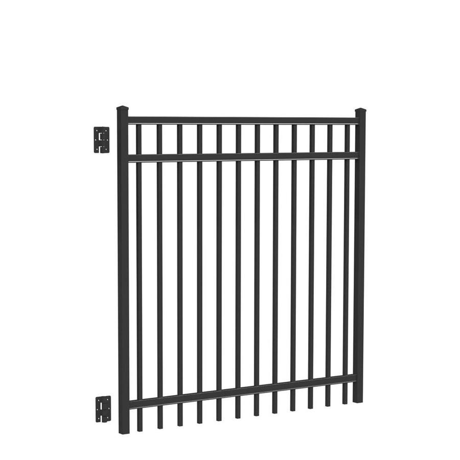 Freedom (Common: 5-ft x 5-ft; Actual: 5.04-ft x 4.875-ft) New Haven Black Aluminum Decorative Fence Gate